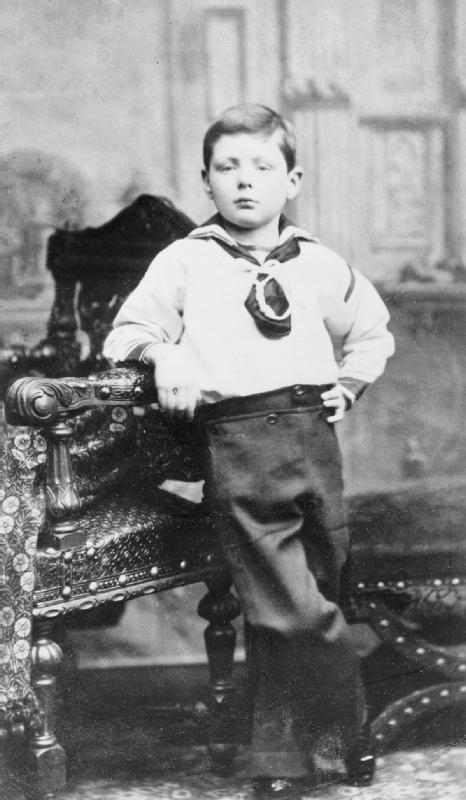 Winston Churchill as a young boy, aged 7, in D...