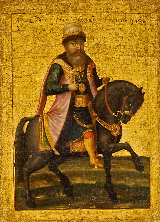 Equestrian portrait of Michael I of Russia (17th c., GIM).jpg