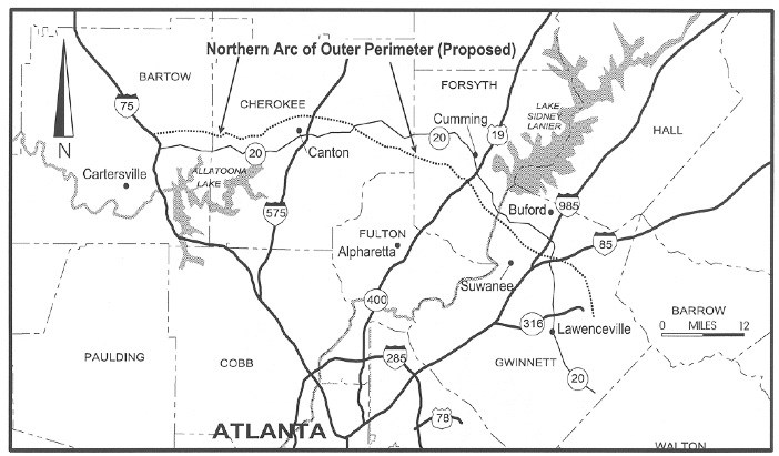 """TIL there was a proposed """"Outer Perimeter"""" - State Route 500, that on map of alto georgia, map of interstate 20 georgia, map of i-75 georgia,"""