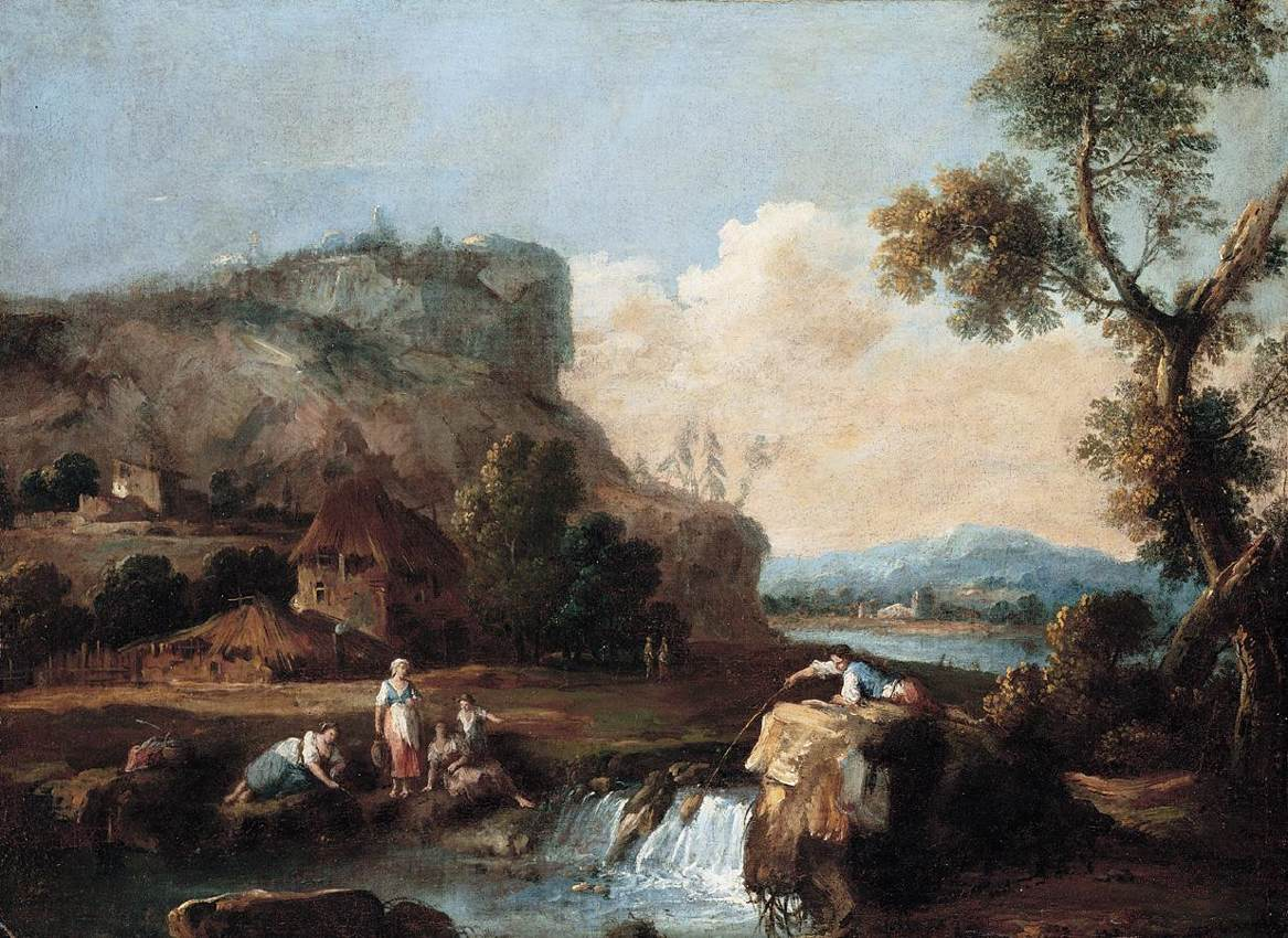 Famous Landscape Painting Of Cows In Water Near Hills
