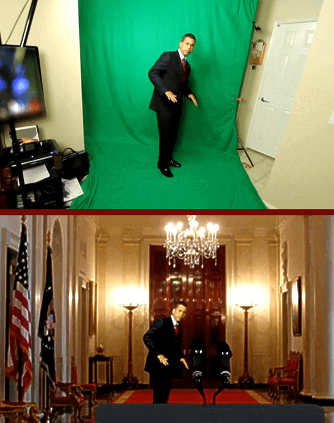"Today's practicality of green-screen compositing is demonstrated by Iman Crosson in a self-produced YouTube video.Top panel: A frame of Crosson in full-motion video as shot in his own living room.[1]Bottom panel: Frame in the final version, in which Crosson, impersonating Barack Obama, ""appears"" in the White House's East Room.[2]"