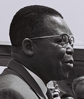 The leader of ABAKO, Joseph Kasa-Vubu, first democratically elected President of the Republic of the Congo (Leopoldville) Joseph Kasa-Vubu in Israel.png