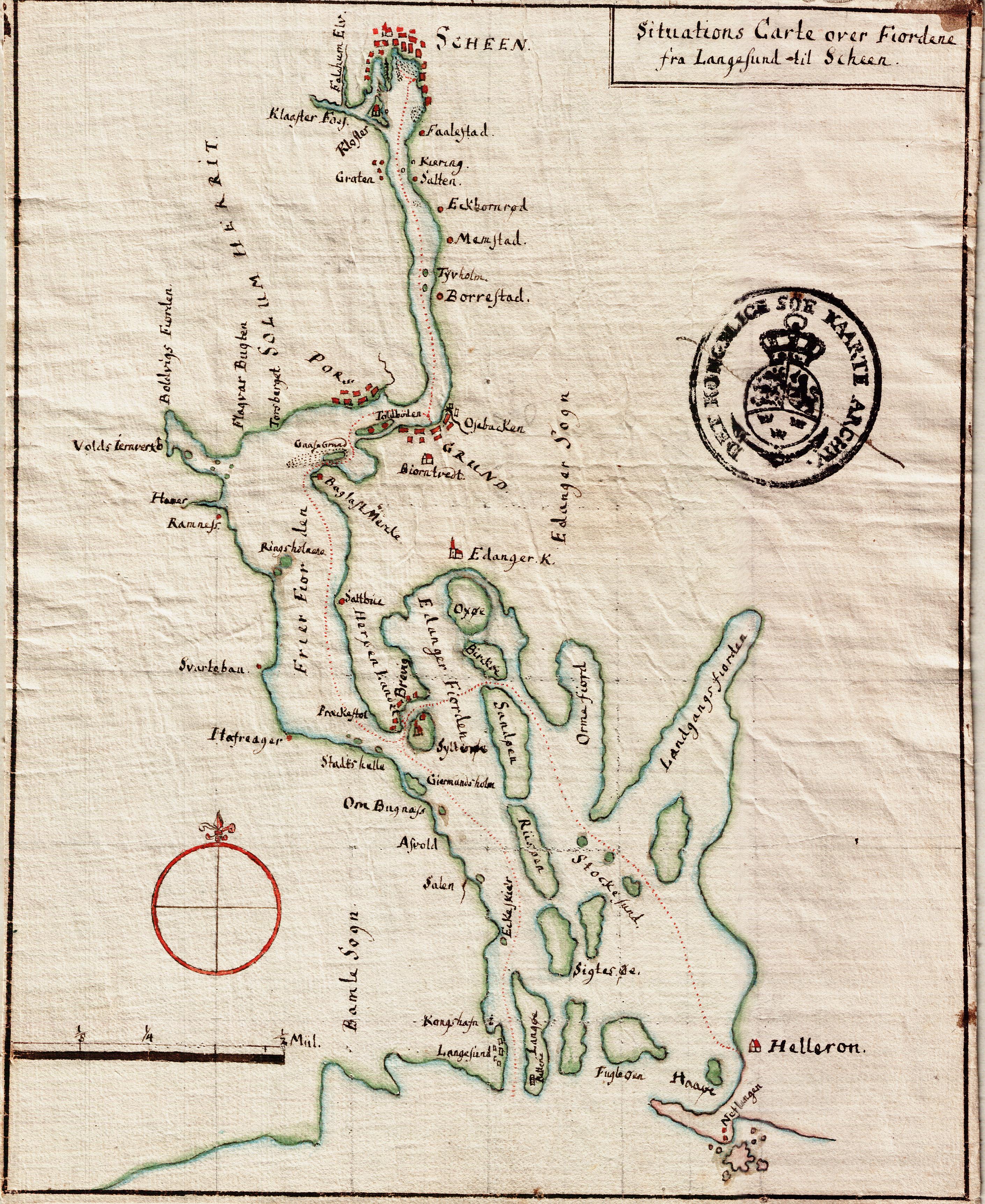 langesund kart File:Kart over Fjordene mellom Skien og Langesund ukjent årstall  langesund kart