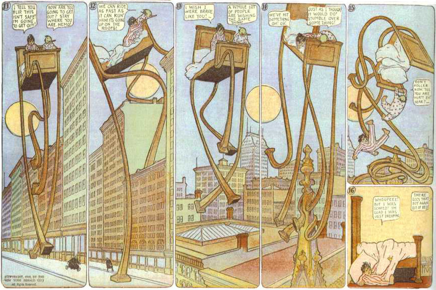 Six panels from Little Nemo comic strip. Nemo dreams his bed grows legs and walks through the city.