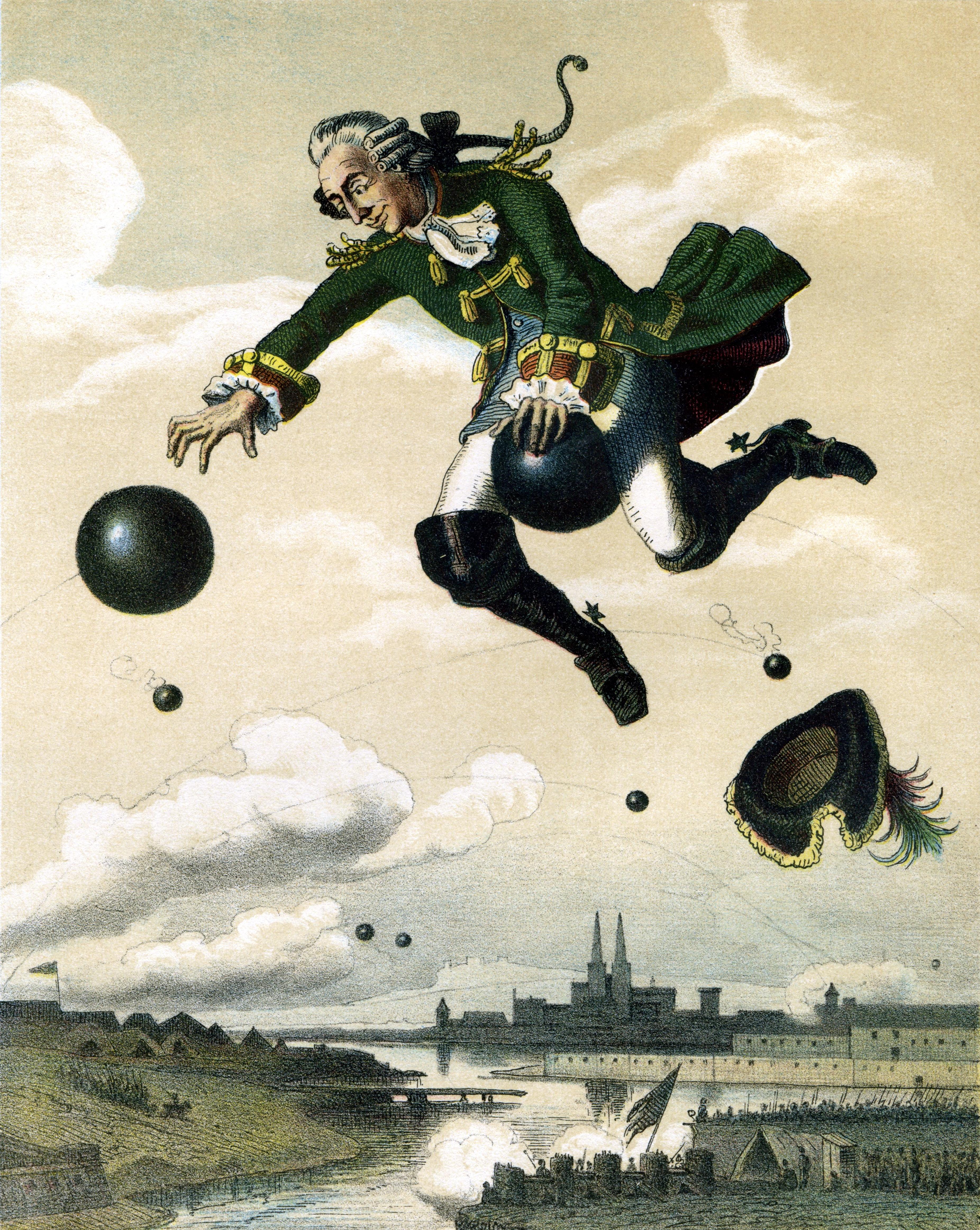August von Wille vor 1872 - Münchhausens Ritt auf der Kanonenkugel - Quelle: WikiCommons