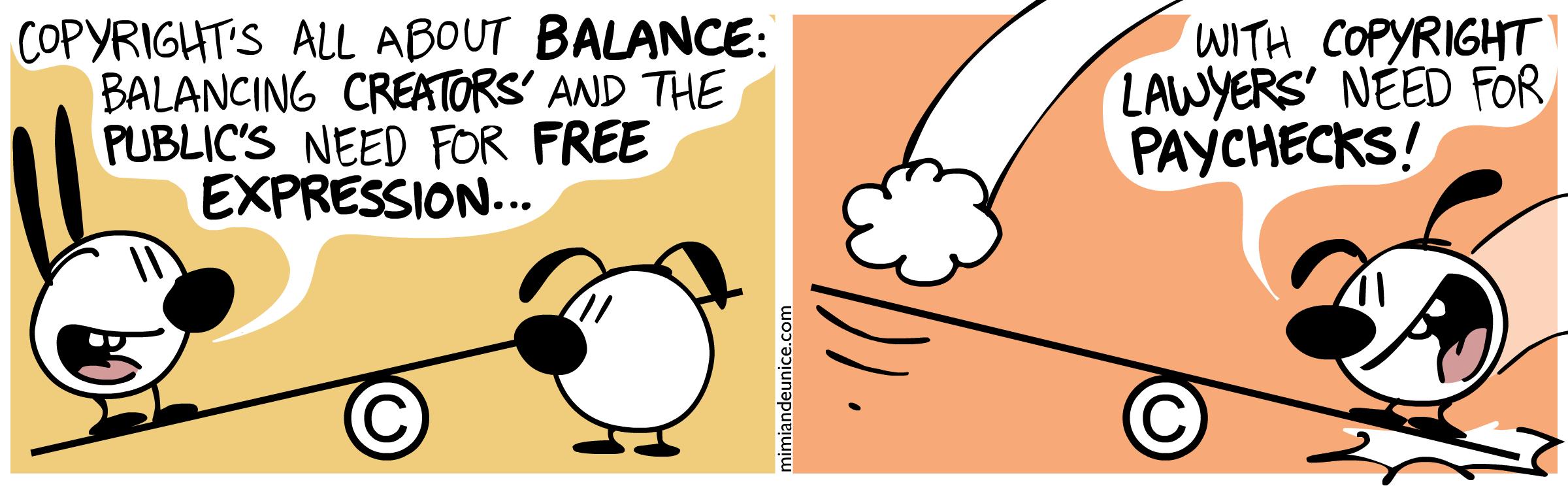 BD caricaturale sur le déséquilibre du droit d'auteur