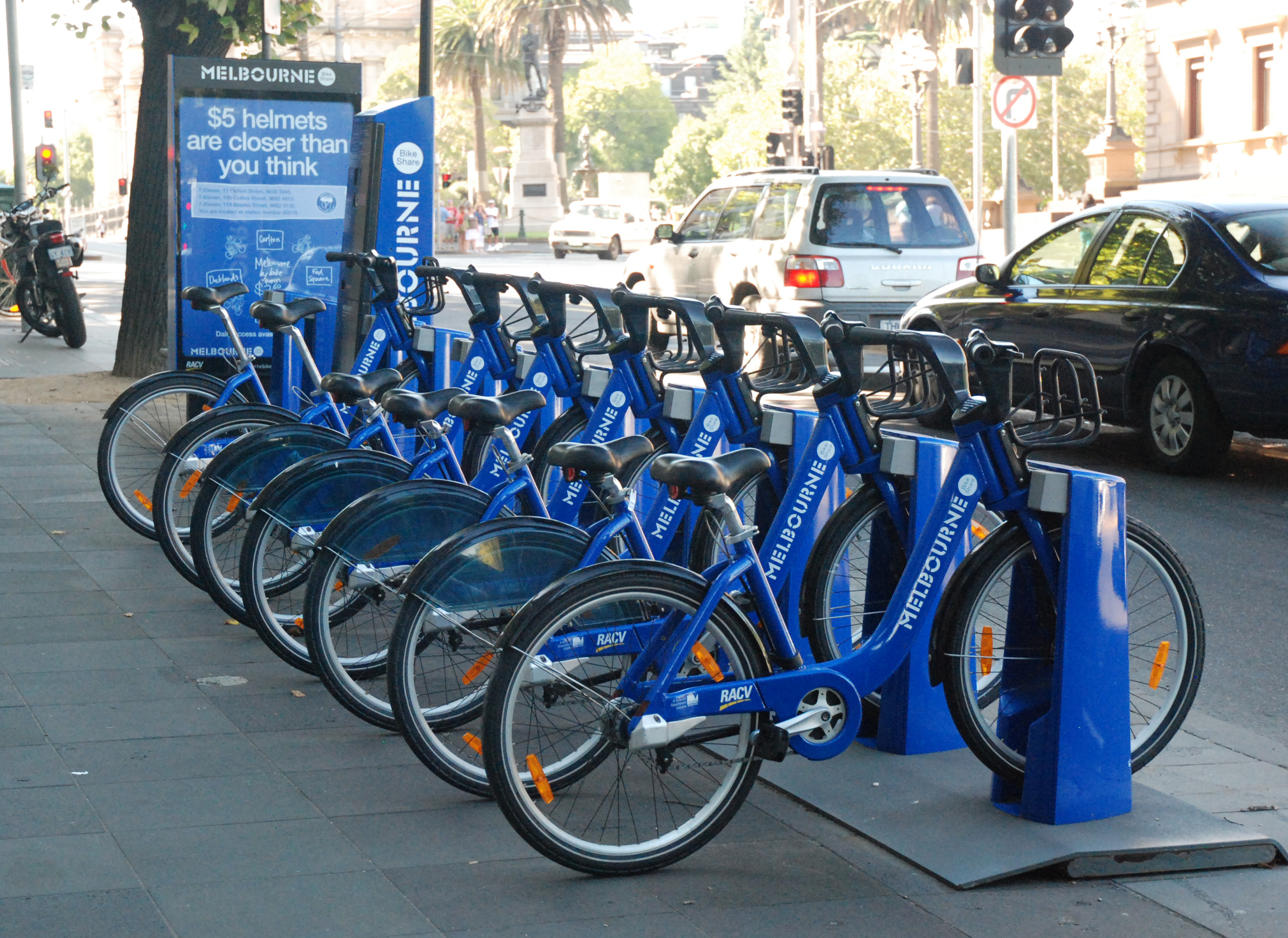 Blue Rental Bikes In Chicago A bicycle sharing station in