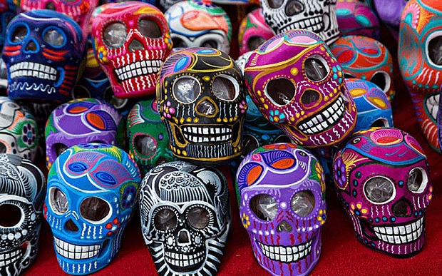 An image of colourful skulls used to celebrate the Day of the Dead.