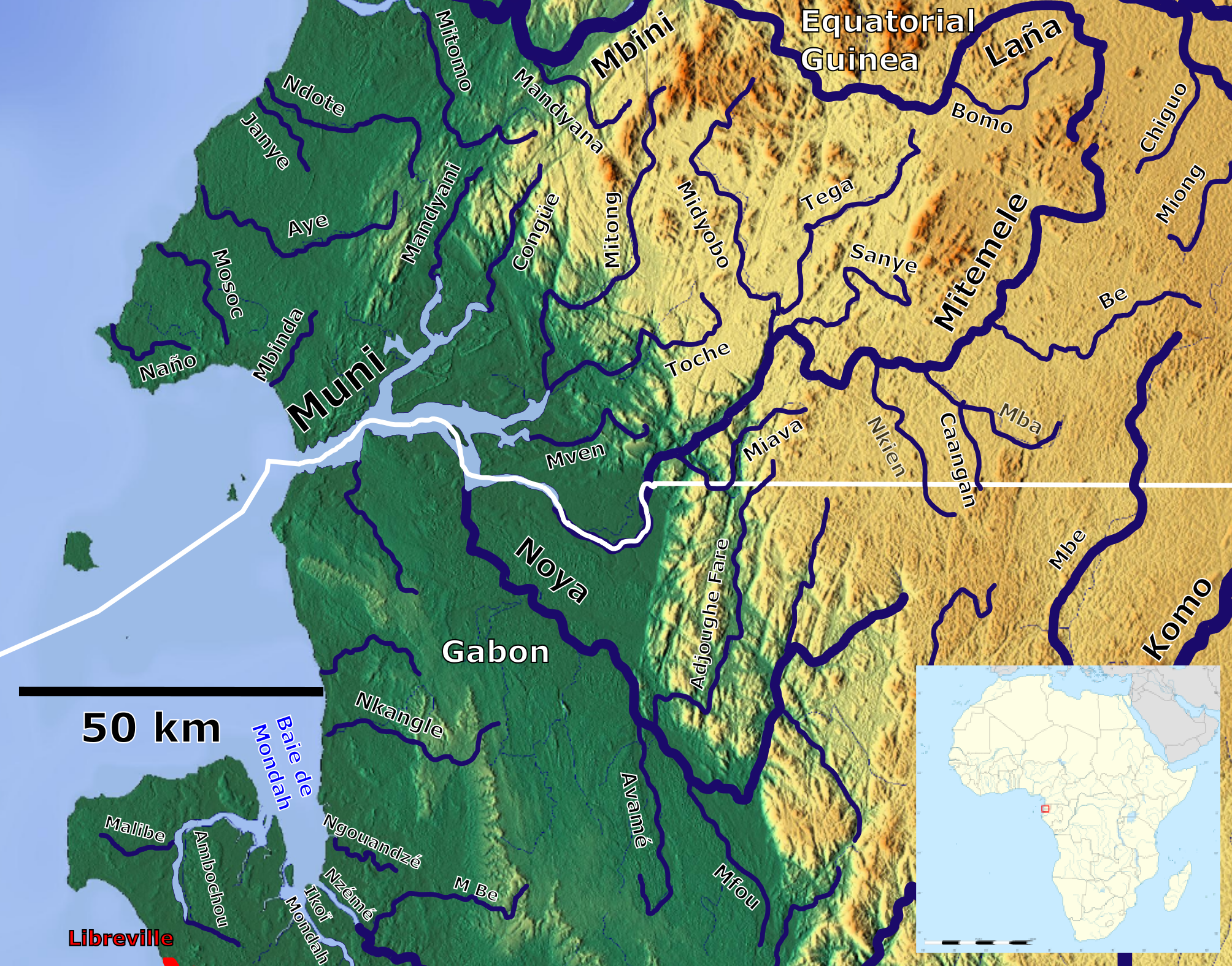Muni River - Wikipedia on map of gozo island, map of hainan island, map of symi, map of isle of pines, map of bhutan, map of tahaa, map of gambia, map of togo, map of algeria, map of tristan da cunha, map of reunion, map of singapore, map of banks island, map of mongolia, map of ascension, map of latvia, map of central african republic, map of kalymnos, map of southwest nigeria, map of bahrain,