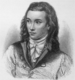 Romantic poet Novalis (1772-1801), portrait by Friedrich Eduard Eichens from 1845 Novalis.jpg