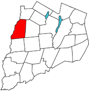 Otsego County outline map Edmeston red.png
