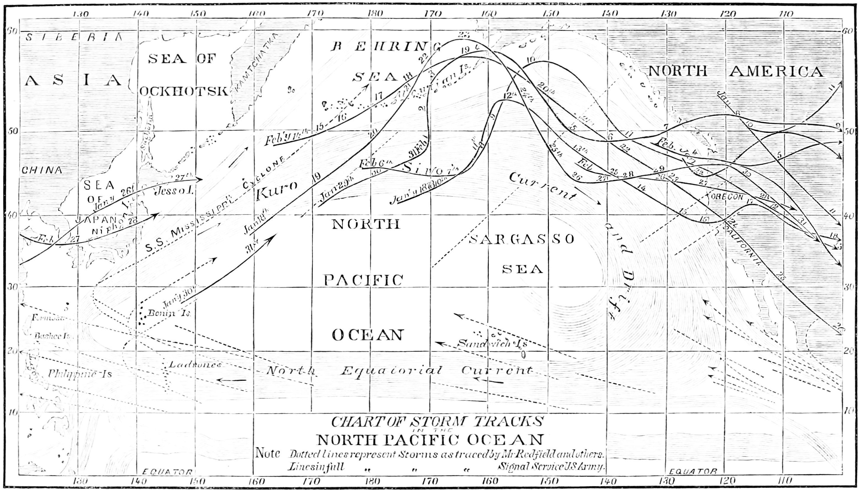 Aviation Weather Charts: PSM V16 D321 Chart of storm tracks of north pacific ocean.jpg ,Chart