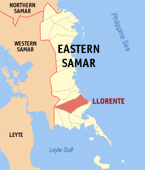Map of Eastern Samar showing the location of Llorente