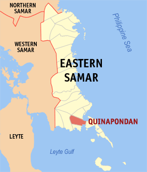 Map of Eastern Samar showing the location of Quinapondan
