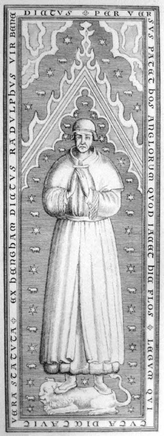 A 17th-century engraving by [[Wenceslaus Hollar]] of Ralph de Hengham's [[monumental brass]] ''(no longer extant)'' at [[St Paul's Cathedral]], [[London]]