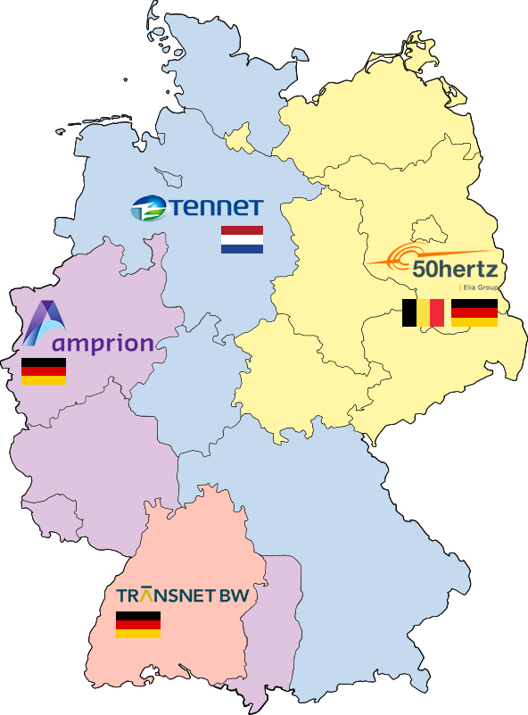 Regelzonen mit Übertragungsnetzbetreiber in Deutschland