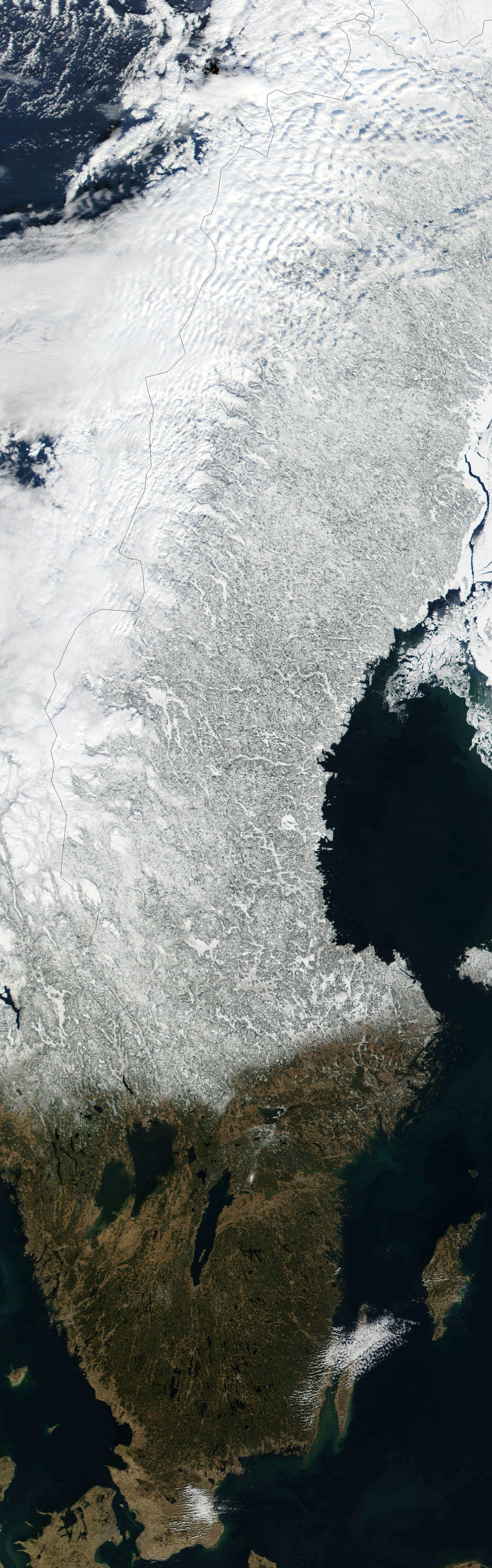 Satellite image of Sweden in March 2002jpg