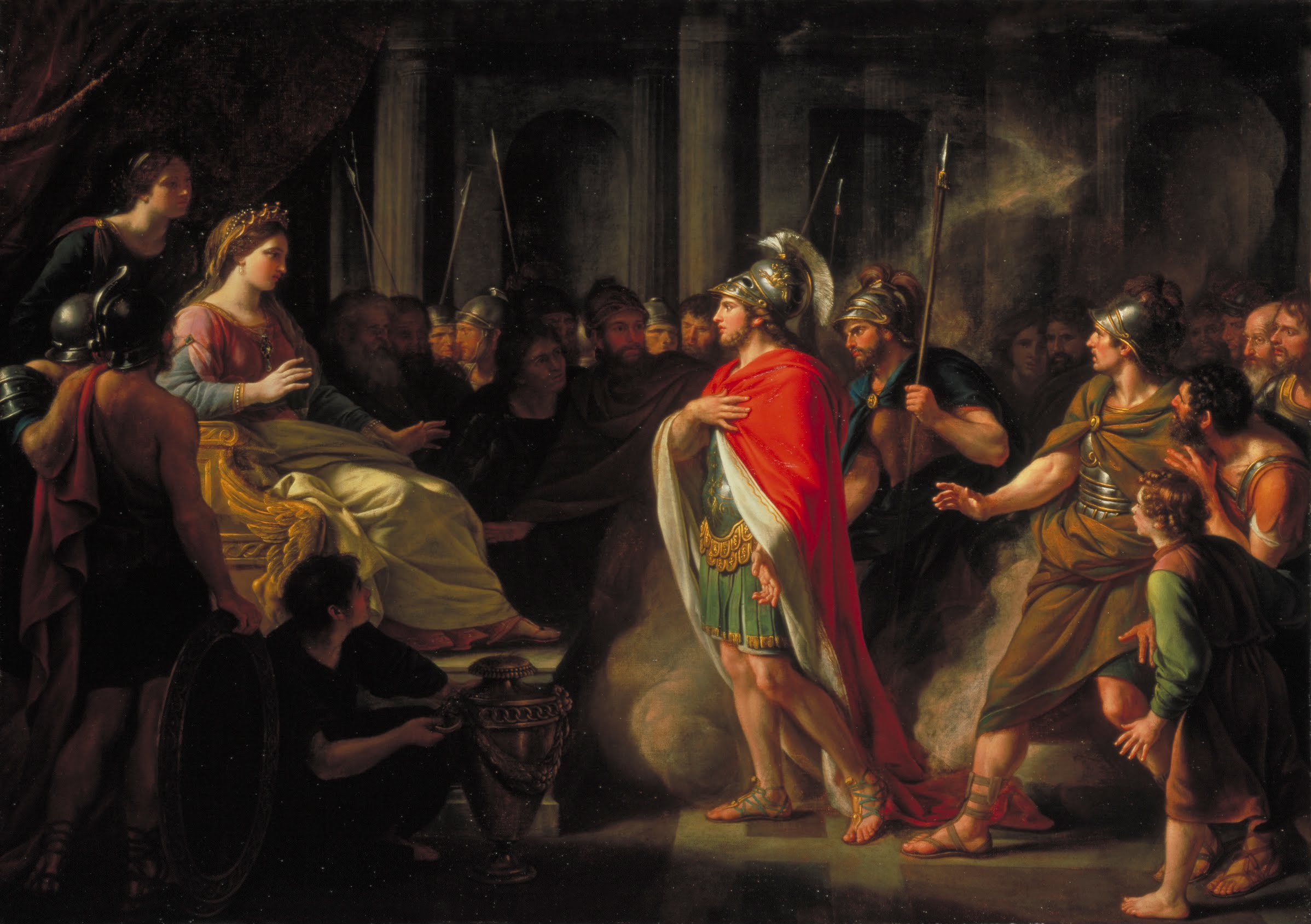 The Meeting of Dido and Aeneas, painted by Sir Nathaniel Dance-Holland. Queen Dido is seated on the left, and Aeneas is standing in a red cape.