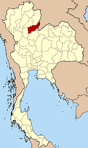 Map of Thailand highlighting Uttaradit Province}