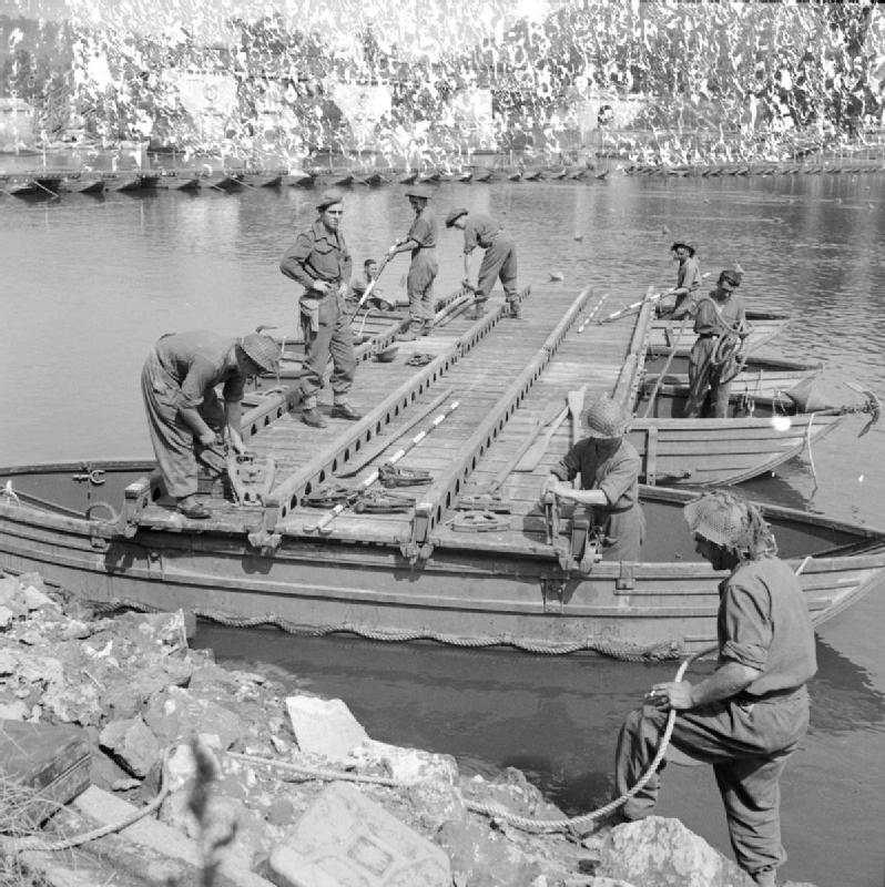 Royal Engineers repairing part of the pontoon bridge