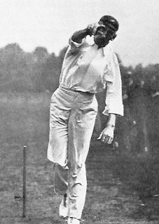 Trumble demonstrating his bowling action, using his height and long arms to advantage TrumbleinAction.jpg