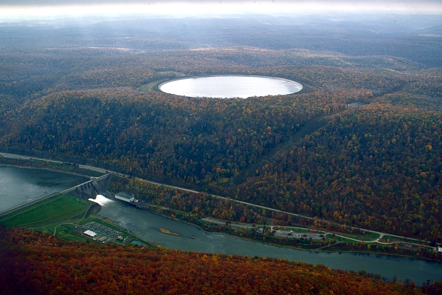 seneca pumped storage reservoir  pennsylvania  the