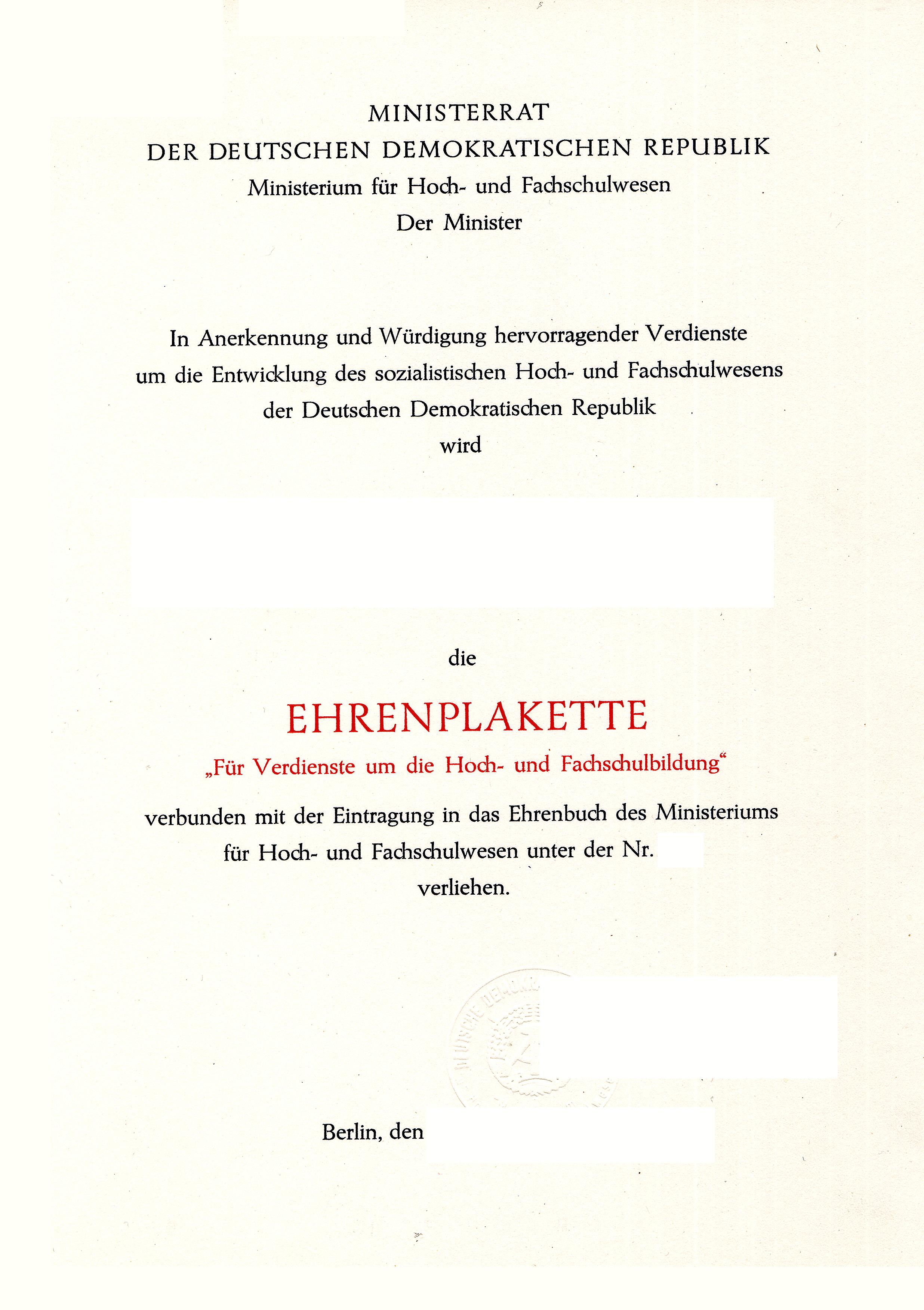 File:Verleihungsurkunde Ehrenplakette des Ministers für Hoch- und ...