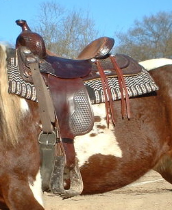 Close up of a western style saddle