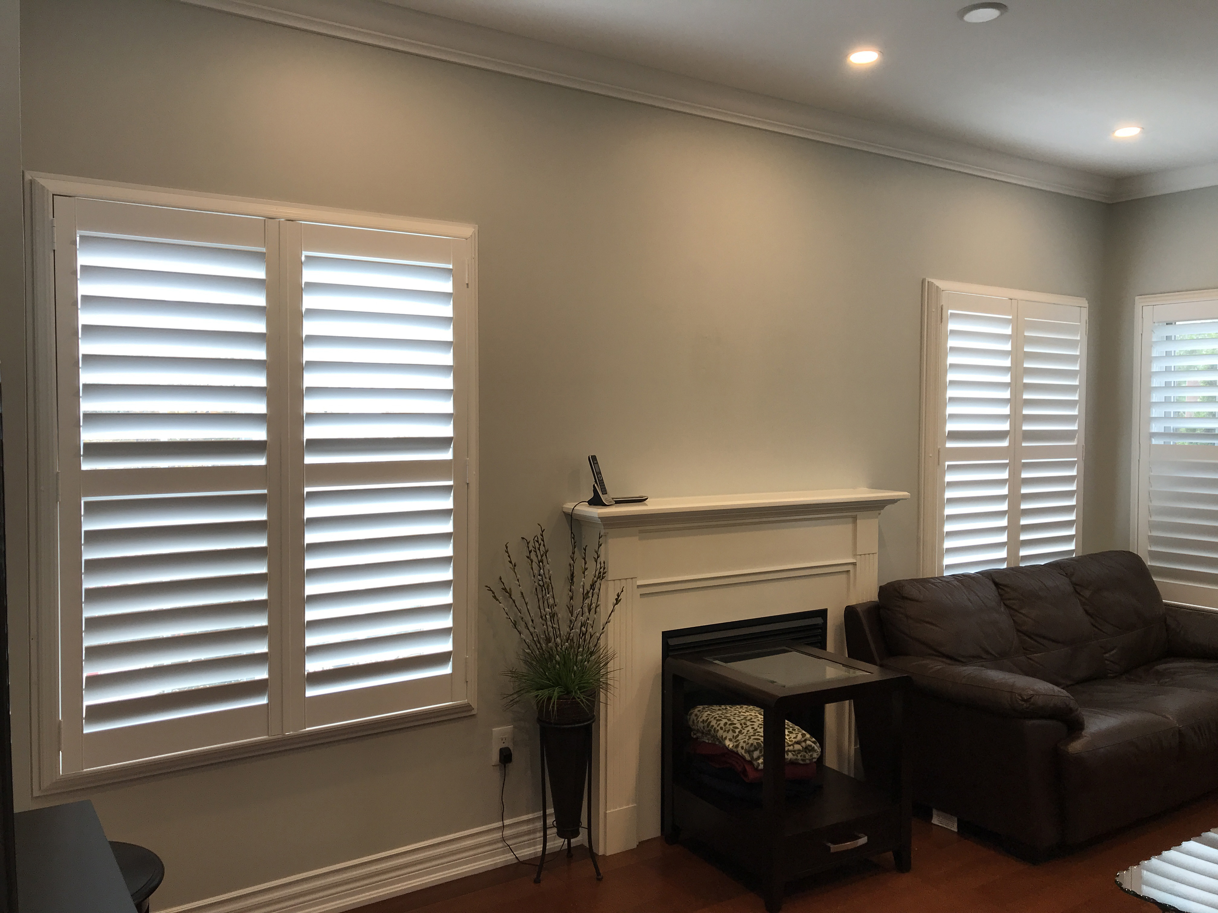 File White California Shutters Fitted To Living Room Windows