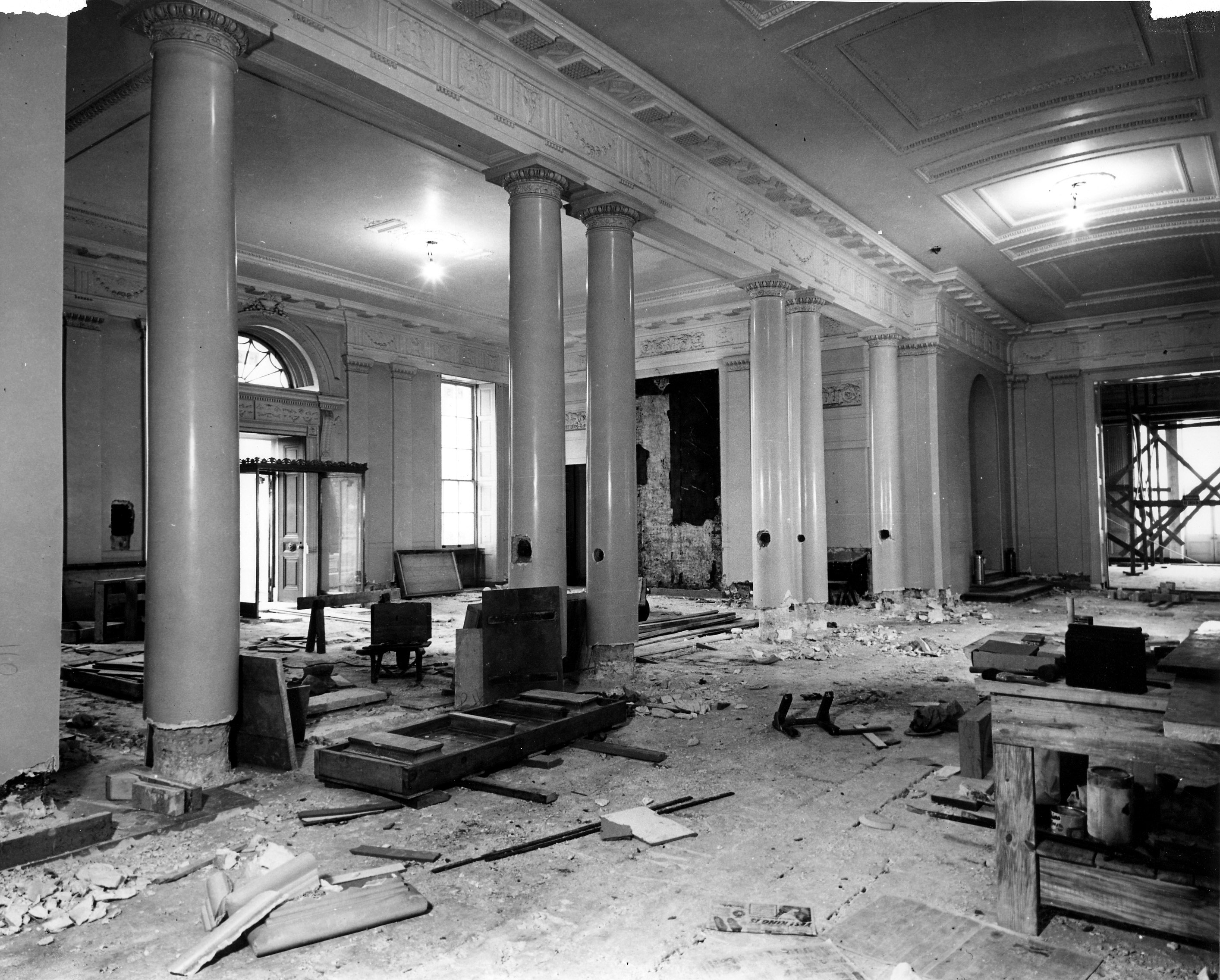 File white house lobby during the renovation 12 27 1949 for Renovation wiki