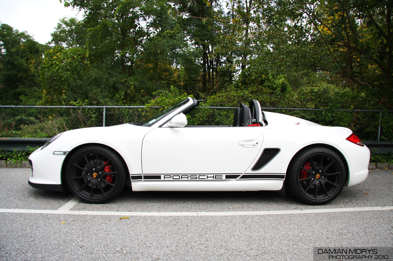 File White Porsche Boxster Spyder Side View Jpg