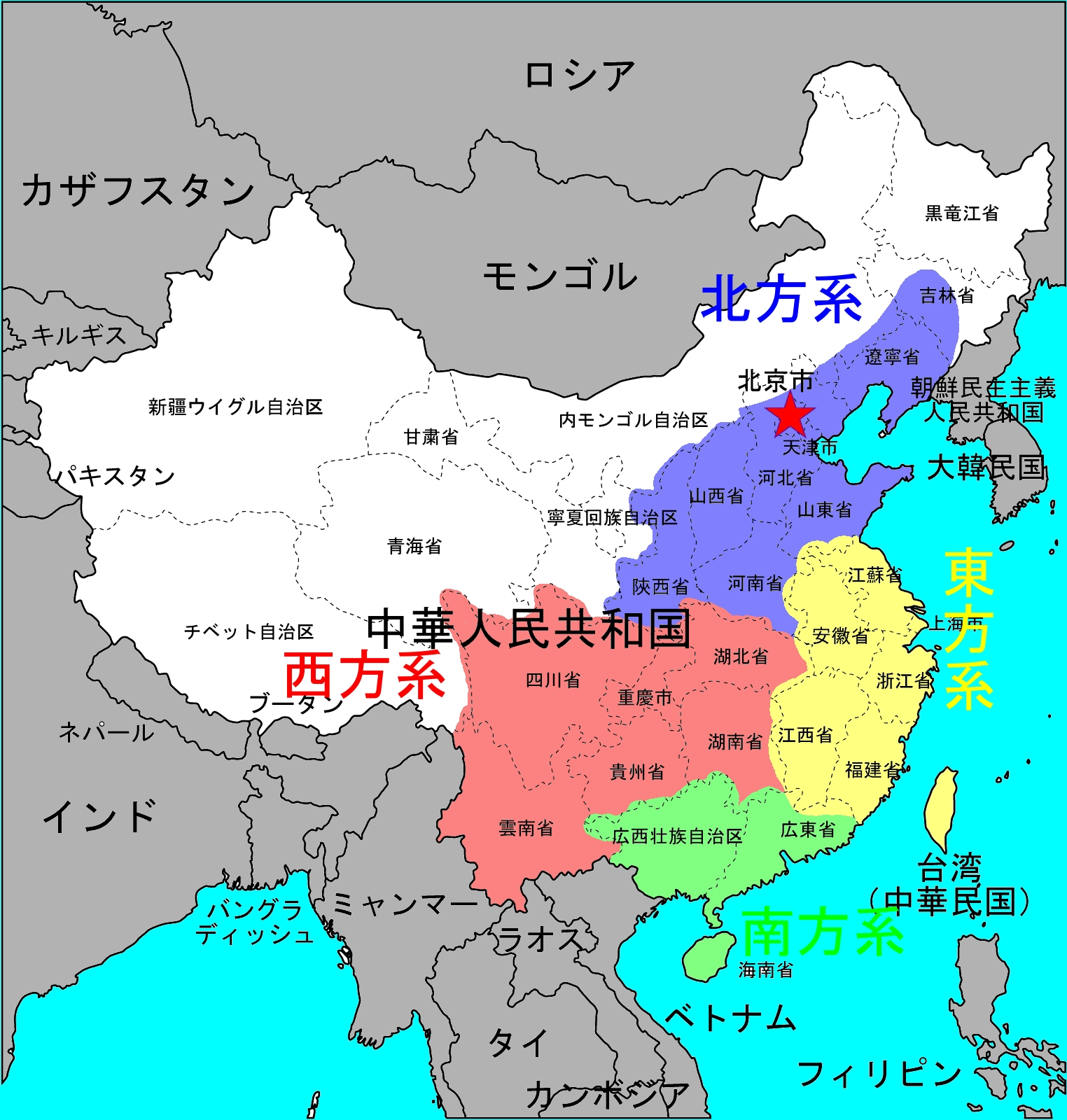 Asia Map with Country Names : 日本 地域区分 : 日本