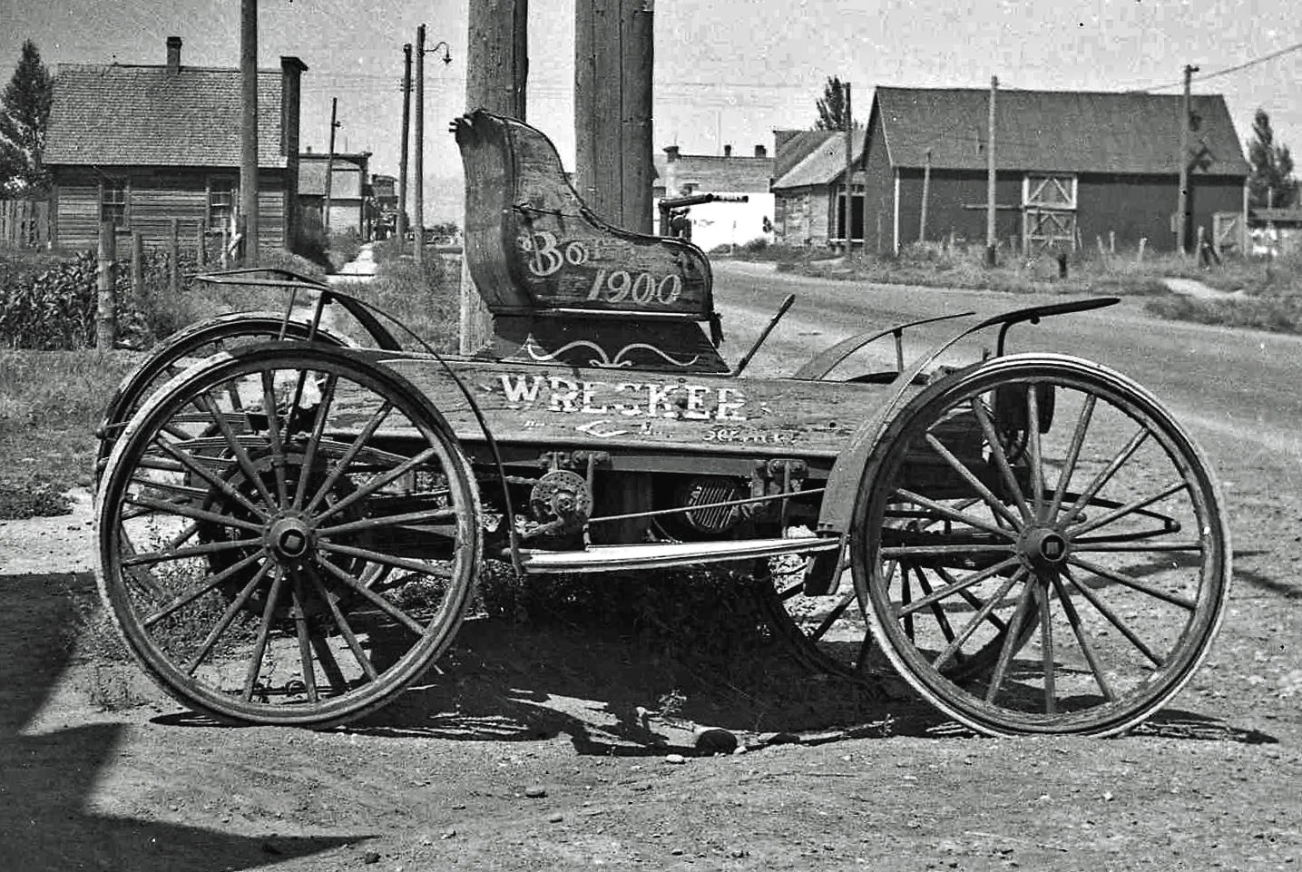 A late 19th century horseless carriage, photography taken in 1936