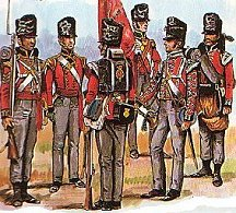 Redcoat soldiers of the 1st Foot Guards