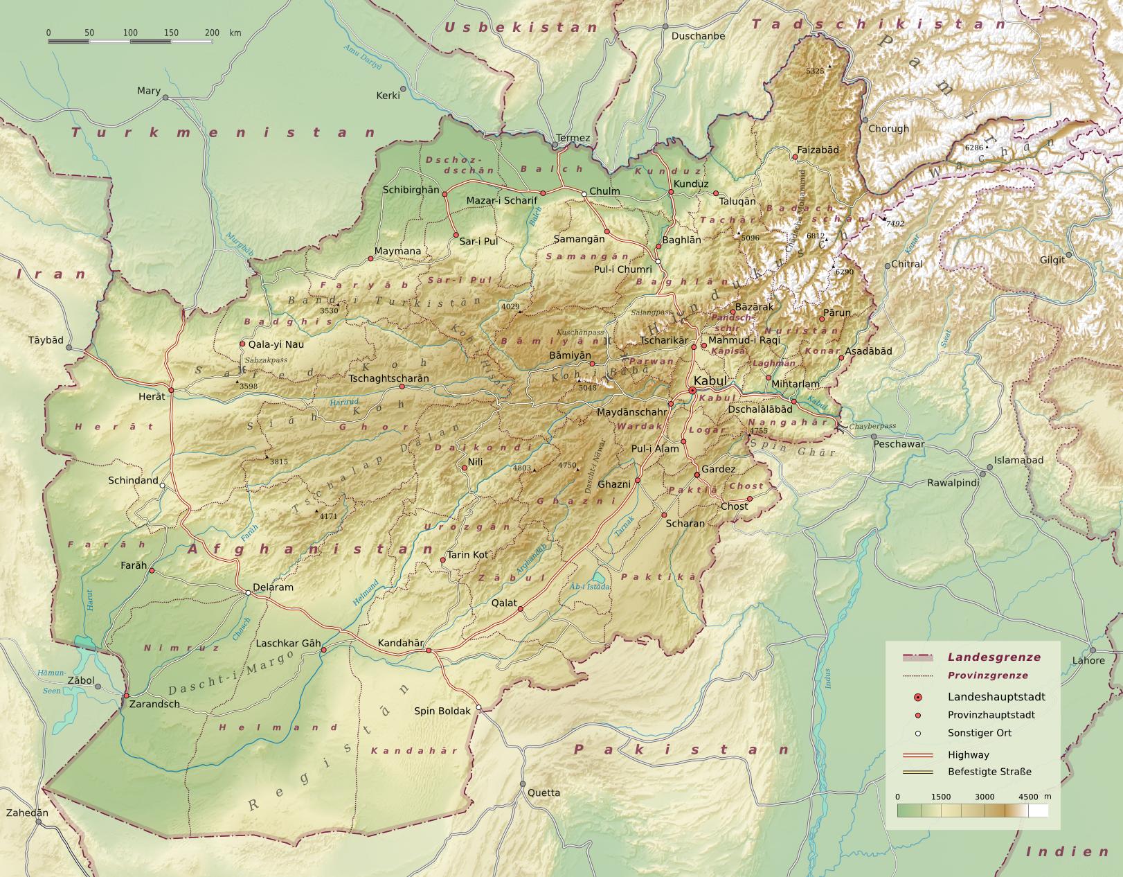karte afghanistan Datei:Afghanistan physisch.png – Wikipedia karte afghanistan