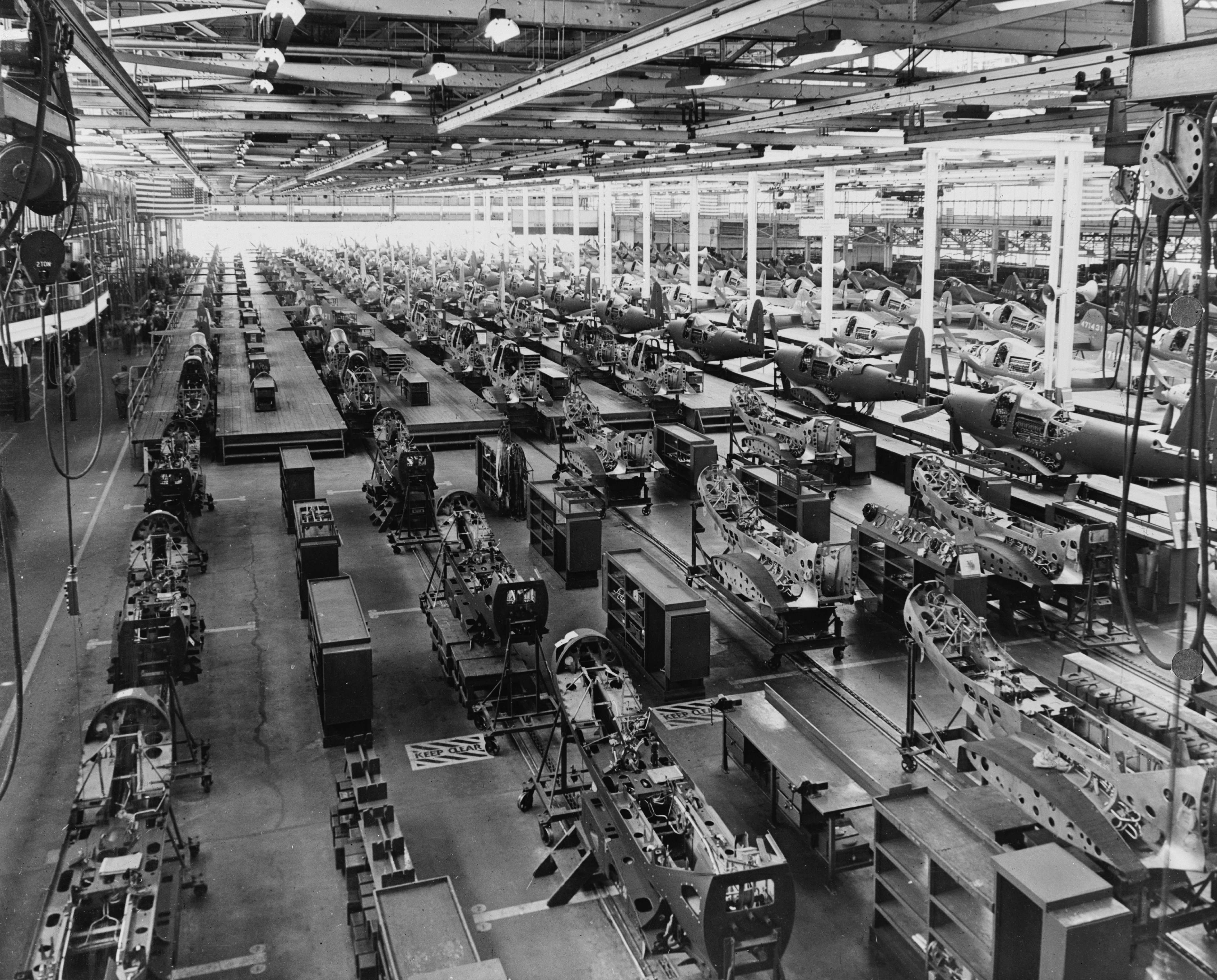 The assembly plant of the Bell Aircraft Corporation at Wheatfield, New York , 1944