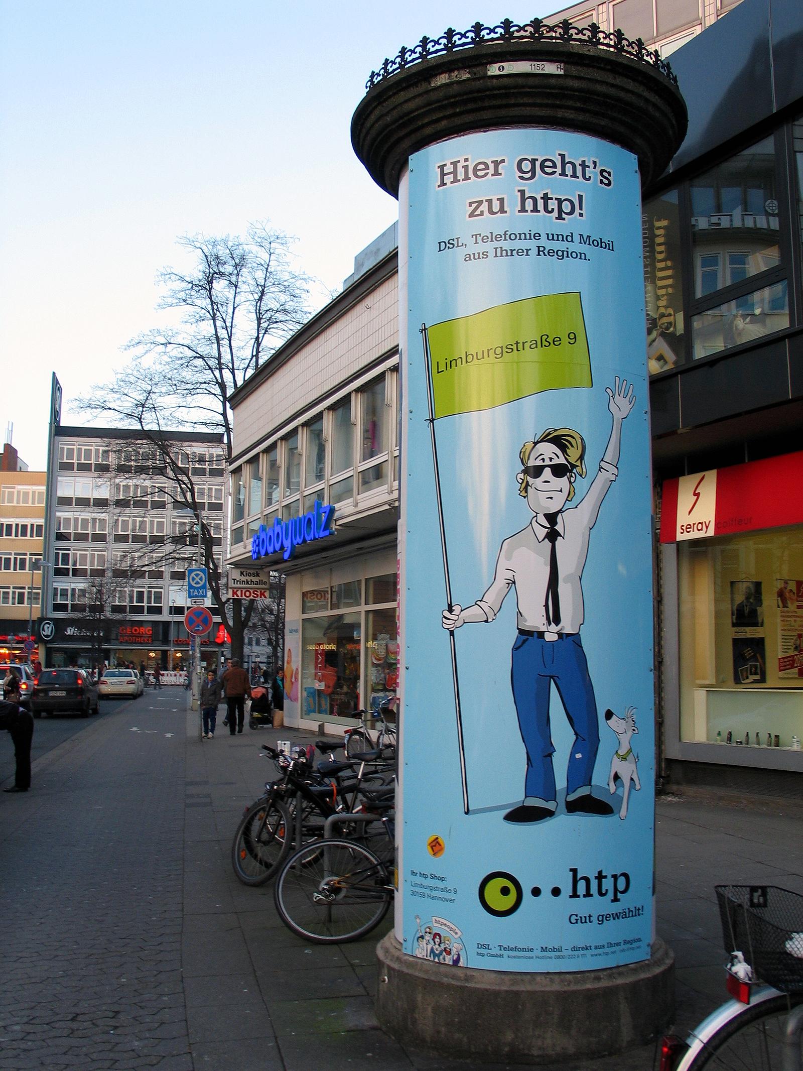 Htp Gmbh file am marstall schmiedestraße hannover litfasssäule mit werbung