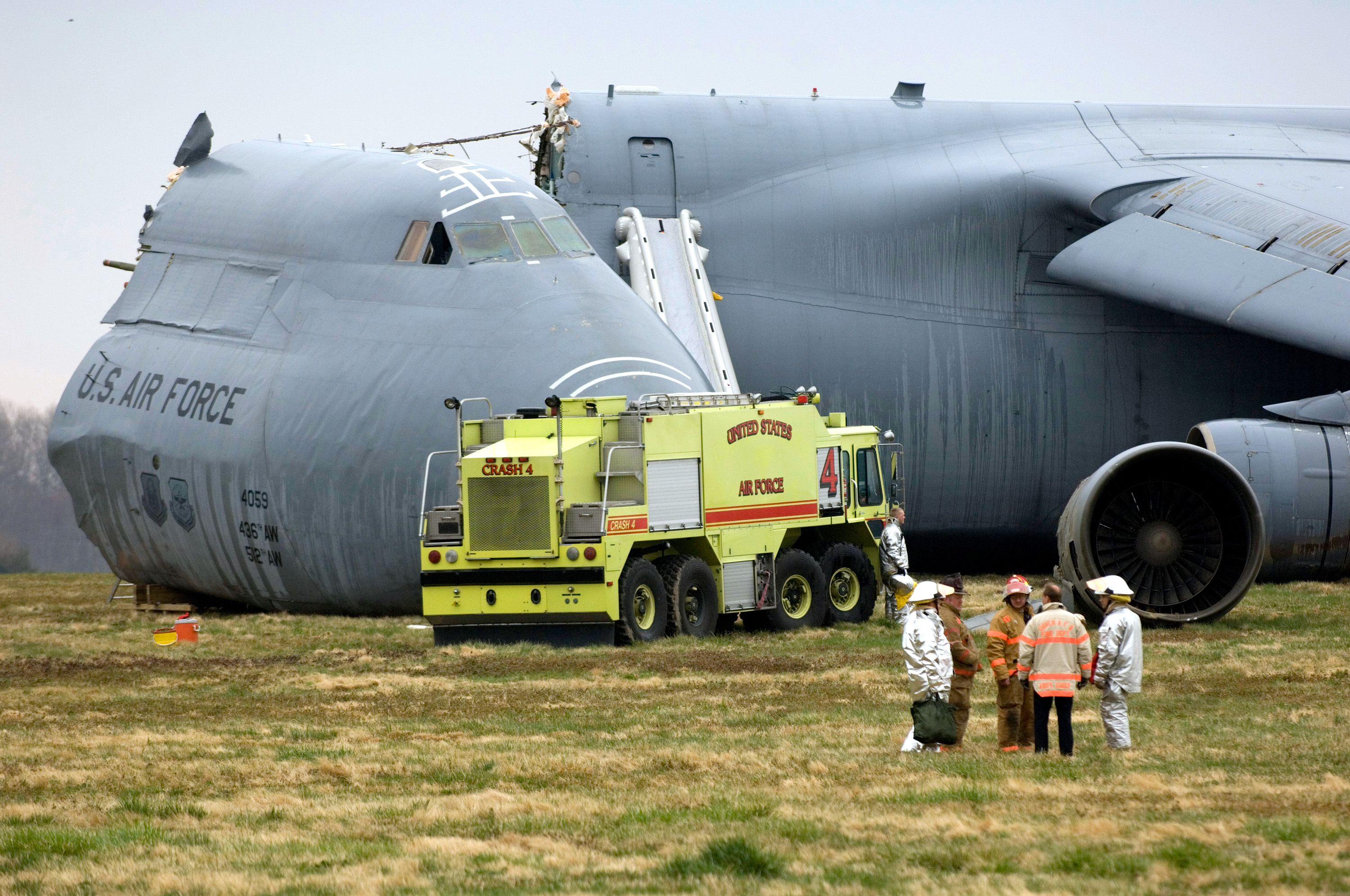 C-5 Galaxy military cargo plane crashes at Dover Air Force