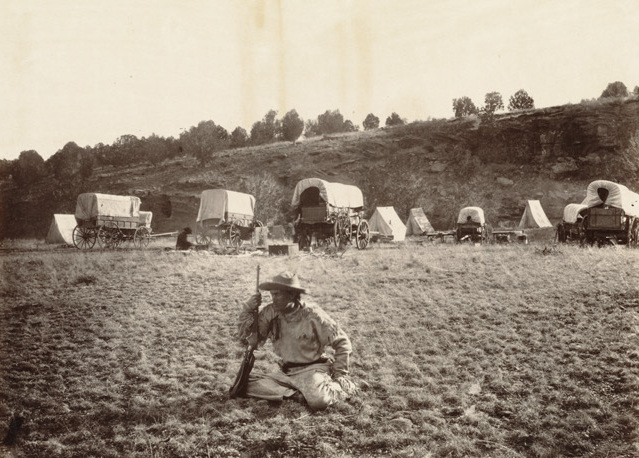 Camp of surverying party at Russel%27s Tank, Arizona, on eastern slope of Laja Range, 1,271 miles from Missouri River. (Boston Public Library) (cropped).jpg