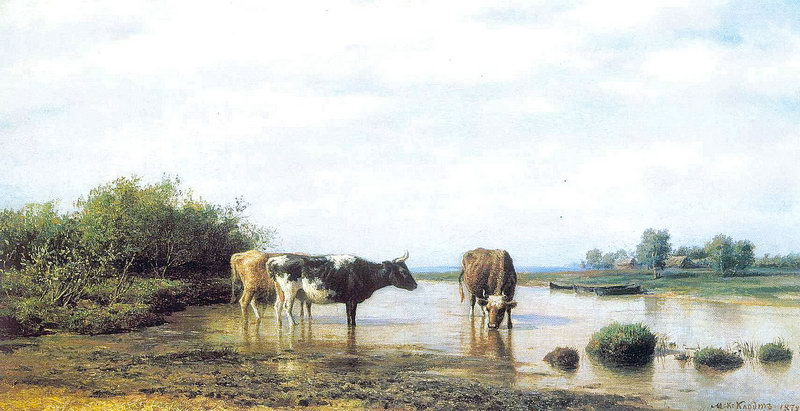 Clodt Michail Constantinovich The Cows at Watering.jpg