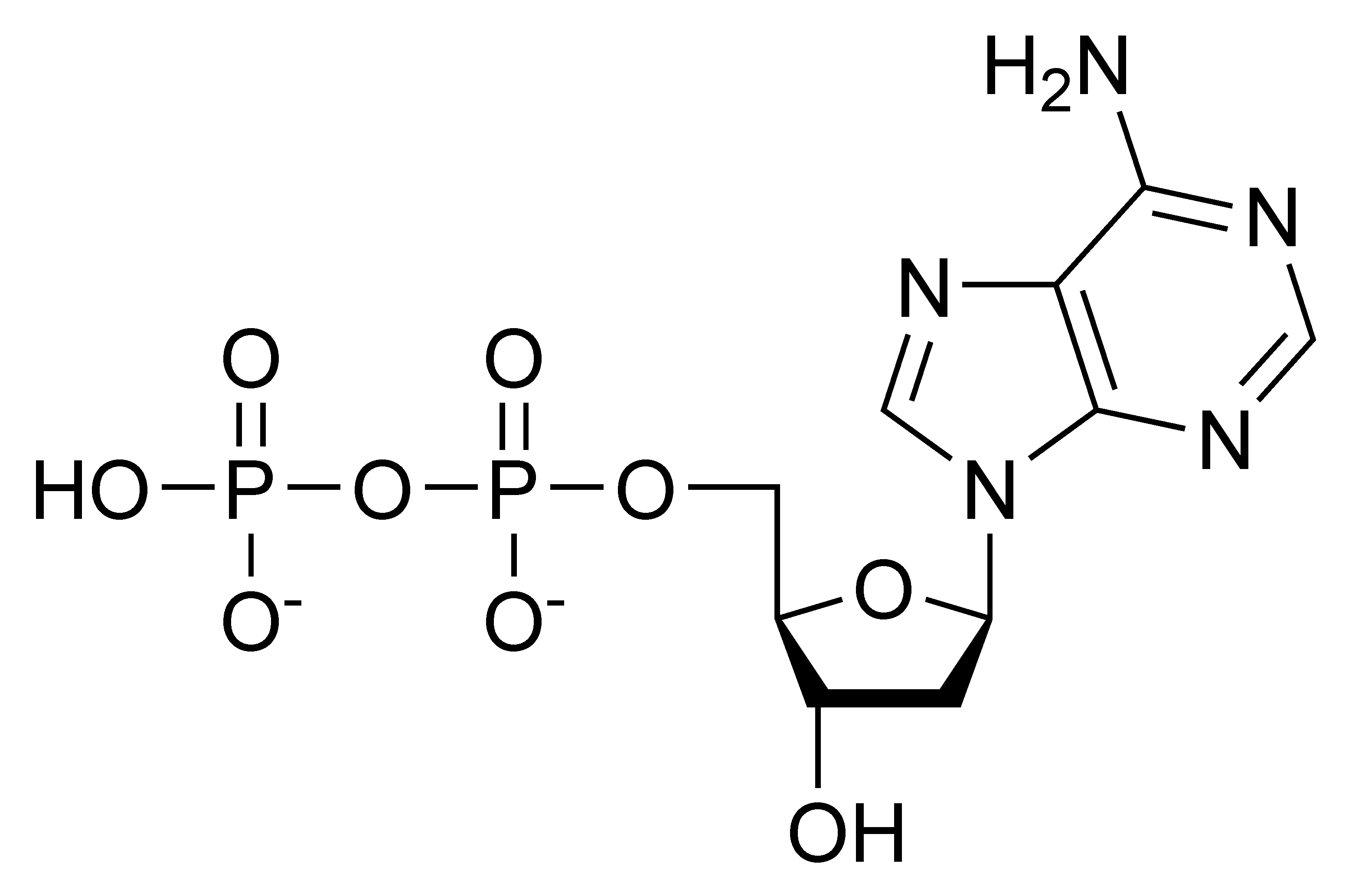 Chemical structure of deoxyadenosine diphosphate