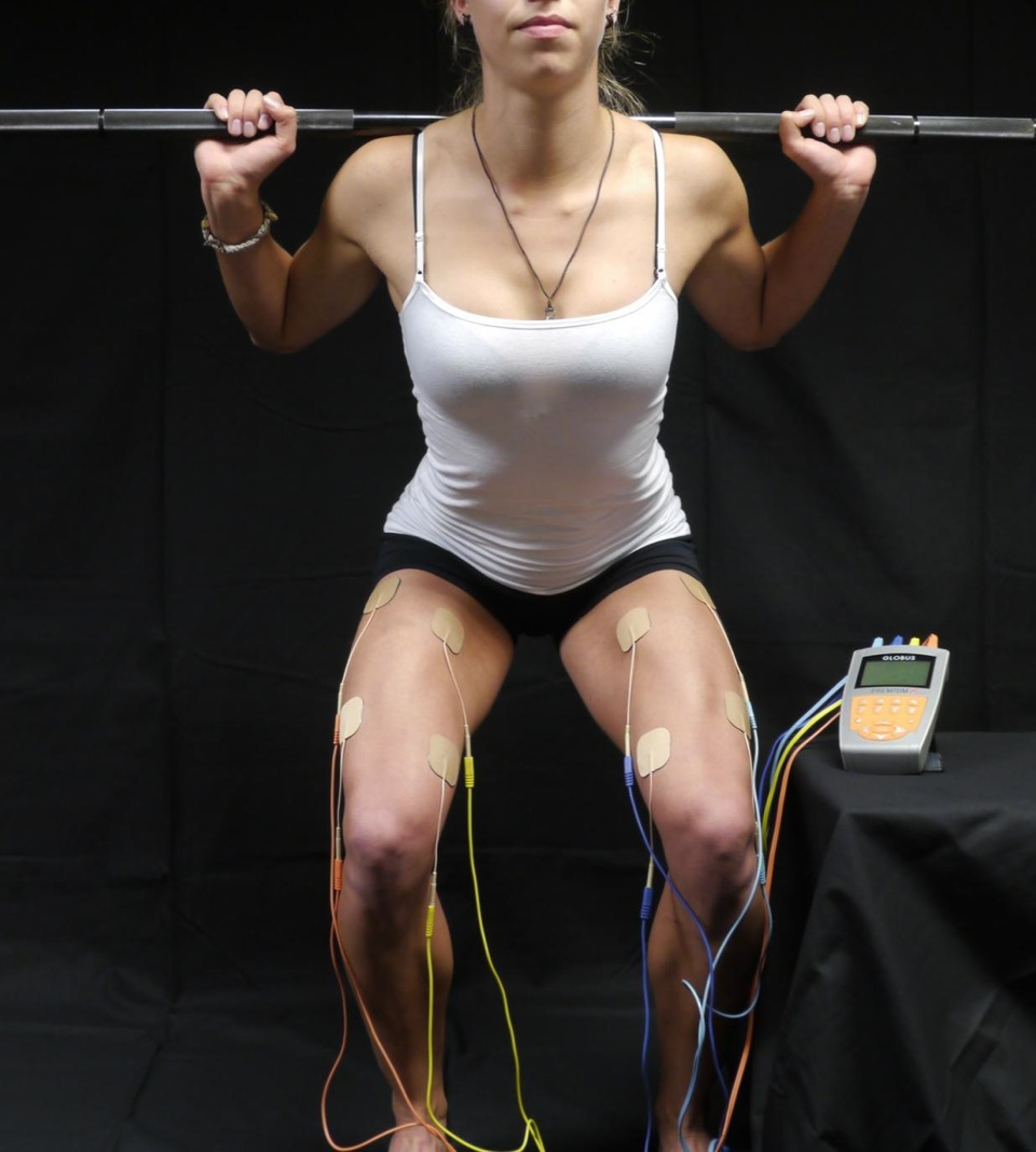 Electrical muscle stimulation meting in het squatten afbeelding via wikipedia