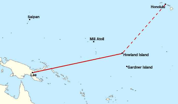 Earharts Flight Was Intended To Be From Lae Airfield Howland Island A Trip Of 2556 Miles 2200 Nmi 4100 Km This Leg The Longest