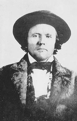 Early photograph (possibly the first) of Kit Carson wearing a beaver hat. Early photo of Kit Carson.jpg