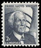 2 cent postage stamp featuring a black and white illustration with bust of Wright in the foreground and the museum in the background.