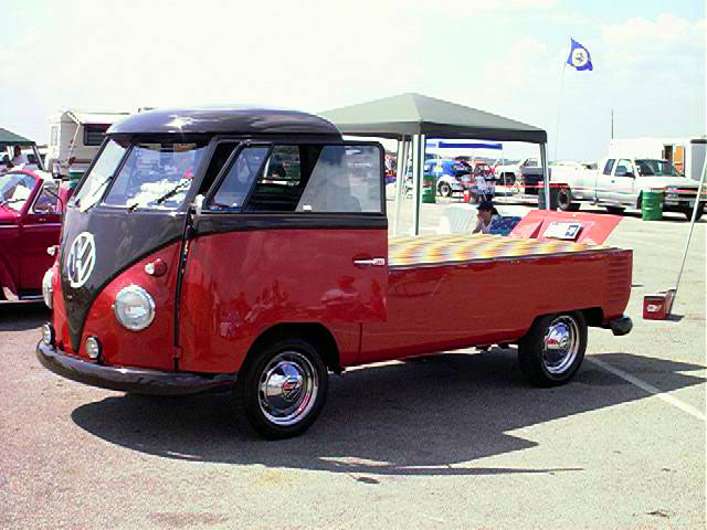 Description Funky red Volkswagen bus-flatbed 04-1999.jpg