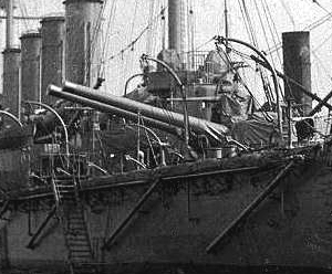HMS Defence Stern 9.2 inch guns trained to port.jpg