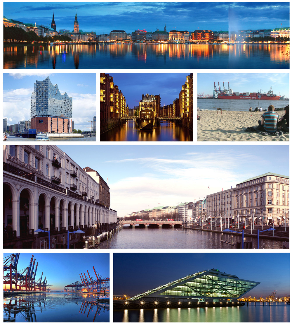 1st row: View of the Binnenalster; 2nd row: Große Freiheit, Speicherstadt, River Elbe; 3rd row: Alsterfleet; 4th row: Port of Hamburg, Dockland office building