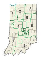 Indiana districts in these elections