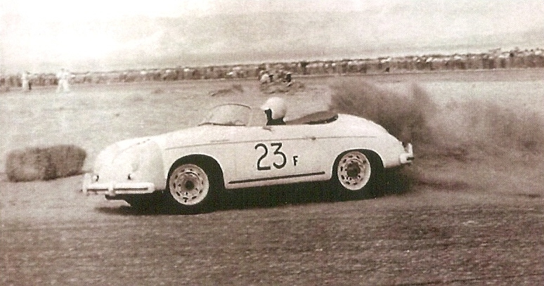 James Dean and Porsche Speedster 23F at Palm Springs Races March, 1955.jpg